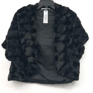 WD•NY Short Black Faux Fur Shrug/ jacket